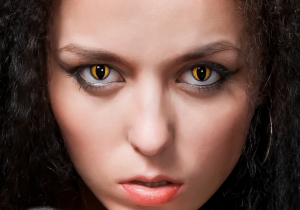 purple and yellow cat eye contact lenses