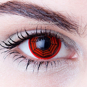 red spiderweb contact lenses
