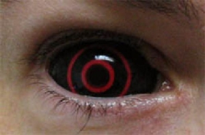creepy black and red contact lenses